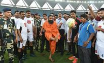 Baba Ramdev turns footballer as Bollywood stars face-off with politicians for charity