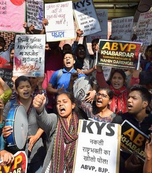 Students protest ABVP attack; Delhi Police admits some cops were 'unprofessional'