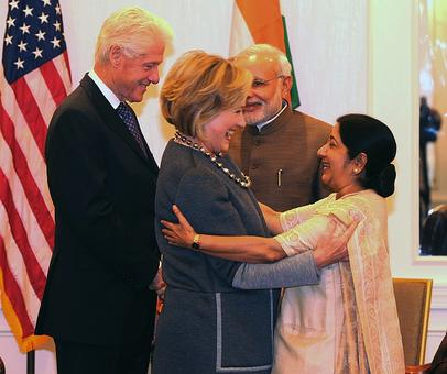 New grandparents Clintons keep their date with Modi