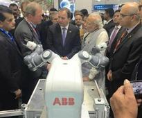 PM Modi meets robot YuMi at 'Make in India' event