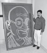 A Tribute to Gandhiji, Made of 25p Coins