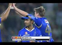 Shane Watson falls after fiery innings