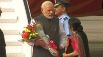 PM Narendra Modi arrives in India, received by Sushma Swaraj