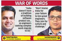 Flipkart's Sachin Bansal snaps back at Snapdeal's Rohit Bansal for lamenting lack of engineers in India