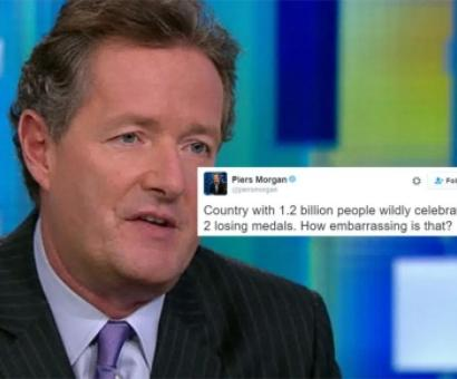 Piers Morgan trolled for tweet on India's medal celebrations